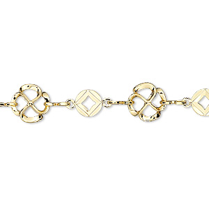 chain, gold-plated brass, 8.5mm flower with 6mm round. sold per pkg of 25 feet.