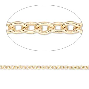 chain, gossamer™, 14kt gold-filled, 1.2mm cable. sold per pkg of 5 feet.