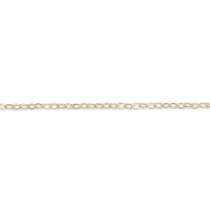 chain, gossamer™, 14kt gold-filled, 1.2mm flat cable, 16 inches with springring clasp. sold individually.