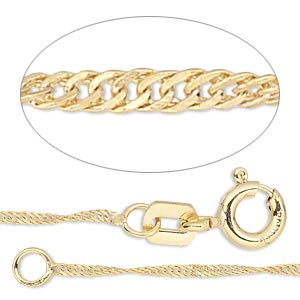 chain, gossamer™, 14kt gold-filled, 1mm singapore, 24 inches with springring clasp. sold individually.