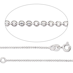 chain, gossamer™, sterling silver, 1mm faceted ball, 7 inches with springring clasp. sold individually.