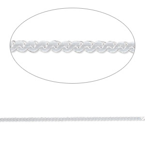chain, gossamer™, sterling silver, 1mm serpentine, 24 inches. sold individually.