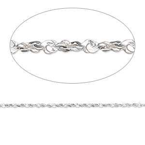 chain, gossamer™, sterling silver, 1mm twisted serpentine, 24 inches. sold individually.