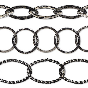 chain, gunmetal-plated brass, 14mm hammered round / 18x8mm hammered marquise / 21x14mm twisted oval. sold per pkg of (3) 8-inch sections.