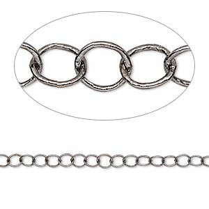 chain, gunmetal-plated brass, 3mm round cable. sold per pkg of 5 feet.