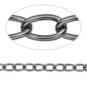 chain, gunmetal-plated brass, 4mm curb. sold per 50-foot spool.