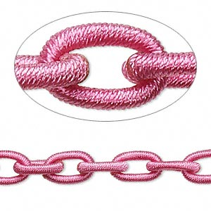 chain, nylon and rubber, pink, 8mm oval. sold per pkg of 36 inches.