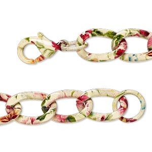 chain, painted steel, multicolored, 9.5mm twisted curb with flower pattern, 7 inches with lobster claw clasp. sold individually.