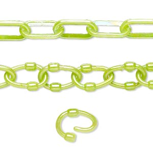 chain, plastic, peridot green ab, 7mm oval with 9mm oval link. sold per pkg of (5) 16-inch sections.