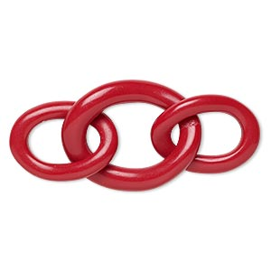 chain, resin, red, 2-3/4 x 1-1/4 inches with 31x22mm and 40x30mm oval link. sold individually.