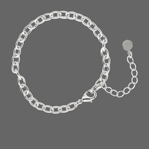 chain, rhodium-plated pewter (tin-based alloy), 5mm oval cable, 6-1/2 inches with 1-3/4 inch extender chain and lobster claw clasp. sold individually.