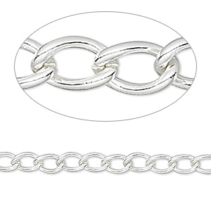 chain, silver-finished brass, 4mm curb. sold per pkg of 50 feet.