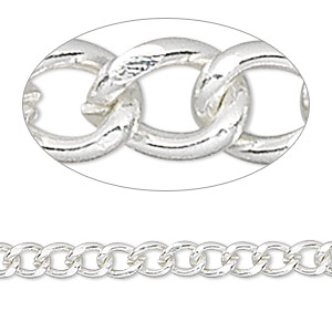 chain, silver-finished brass, 6x5mm curb. sold per pkg of 5 feet.