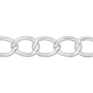 chain, silver-finished brass, 9mm curb. sold per pkg of 5 feet.