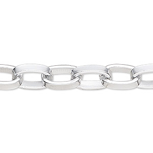 chain, silver-plated aluminum, 12x8mm oval rolo. sold per pkg of 5 feet.