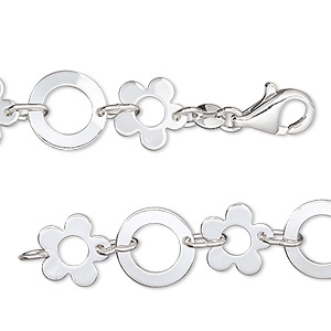 chain, silver-plated brass, 10mm flower and 11mm round, 7 inches with lobster claw clasp. sold individually.