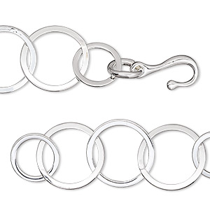 chain, silver-plated brass, 14mm flat round cable, 6-1/2 inches with hook-and-eye clasp. sold individually.