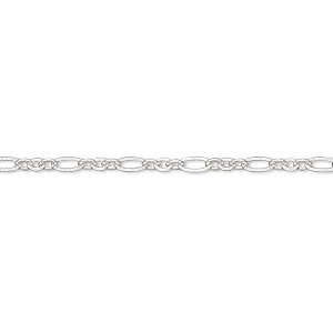 chain, silver-plated brass, 2.5mm figaro. sold per pkg of 5 feet.