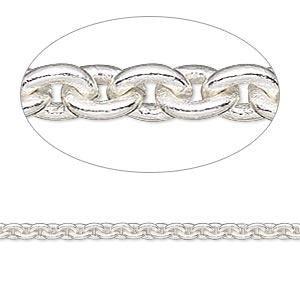 chain, silver-plated brass, 3mm cable. sold per 50-foot spool.