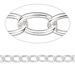 chain, silver-plated brass, 4mm curb. sold per 50-foot spool.