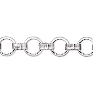 chain, silver-plated brass, 8mm round. sold per pkg of 5 feet.