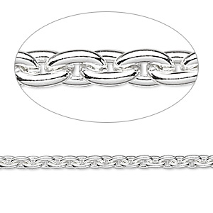 chain, silver-plated steel, 4.8x3.3mm cable. sold per pkg of 5 feet.
