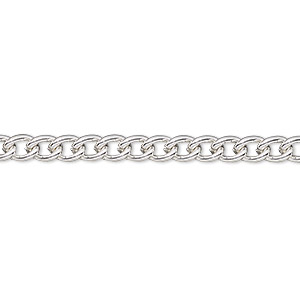chain, silver-plated steel, 4mm curb. sold per pkg of 5 feet.