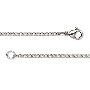 chain, stainless steel, 1.7mm curb, 20 inches with lobster claw clasp. sold individually.