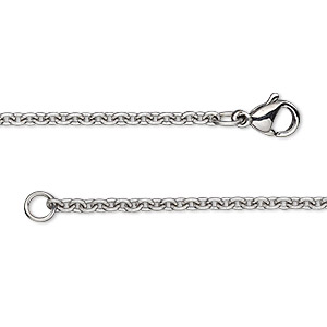 chain, stainless steel, 2.2mm cable, 18 inches with lobster claw clasp. sold individually.