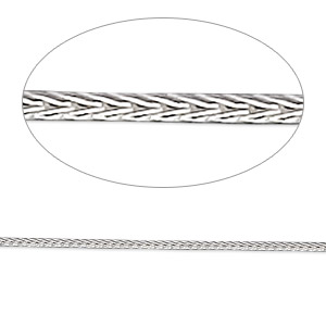 chain, sterling silver, 1.3mm round foxtail, 24 inches. sold individually.