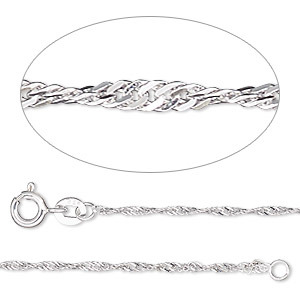 chain, sterling silver, 1.3mm singapore, adjustable at 16 and 18 inches with springring clasp. sold individually.