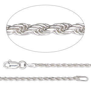 chain, sterling silver, 1.4mm diamond-cut french rope, 24 inches. sold individually.