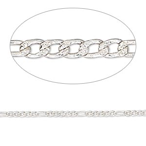 chain, sterling silver, 1.5mm figaro. sold per 50-foot spool.