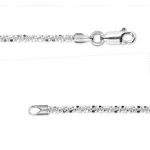 chain, sterling silver, 2.1mm diamond-cut crisscross, 20 inches with lobster claw clasp. sold individually.