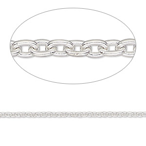 chain, sterling silver, 2x1.5mm cable. sold per 50-foot spool.