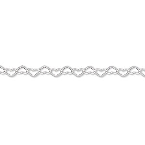 chain, sterling silver, 3.5mm flat heart cable, 18 inches with lobster claw clasp. sold individually.