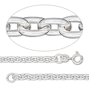 chain, sterling silver, 3mm oval cable, 24 inches. sold individually.