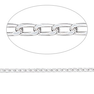 chain, sterling silver, 3x1.7mm diamond-cut long curb, 24 inches. sold individually.