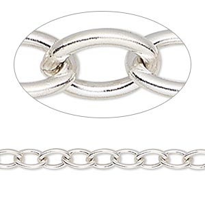 chain, sterling silver, 5.7mm heavy cable. sold per 50-foot spool.