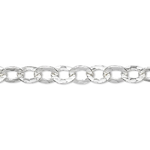chain, sterling silver, 7x6mm flat hammered cable. sold per pkg of 5 feet.