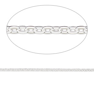 chain, sterling silver-filled, 1.3mm flat cable. sold per pkg of 5 feet.