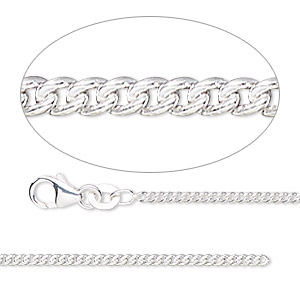 chain, sterling silver-filled, 1.7mm curb. sold per pkg of 5 feet.