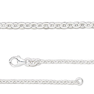chain, sterling silver-filled, 2.25mm flat cable. sold per pkg of 5 feet.
