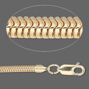 chain, vermeil, 3.1mm snake, 8 inches with 5x4mm end caps and lobster claw clasp. sold individually.