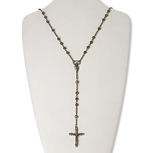 chaplet, glass rhinestone / antique brass-finished pewter (zinc-based alloy) / brass / steel, clear, 38x29mm crucifix, 30 inches with 2-1/2 inch extender chain and lobster claw clasp. sold individually.