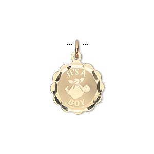 charm, 14kt gold, 15mm its a boy round. sold individually.