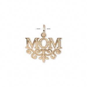 charm, 14kt gold, 18x14mm single-sided mom with filigree base. sold individually.