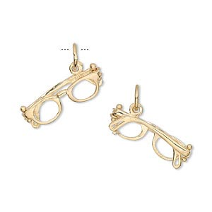 charm, 14kt gold, 19x6mm glasses. sold individually.