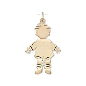 charm, 14kt gold, 26x18mm engraveable boy. sold individually.