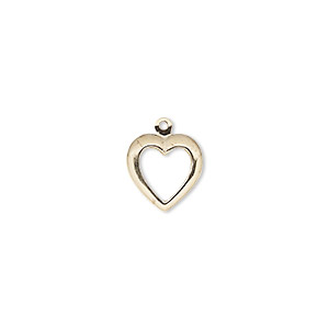 charm, 14kt gold-filled, 10.5mm single-sided open heart. sold per pkg of 2.